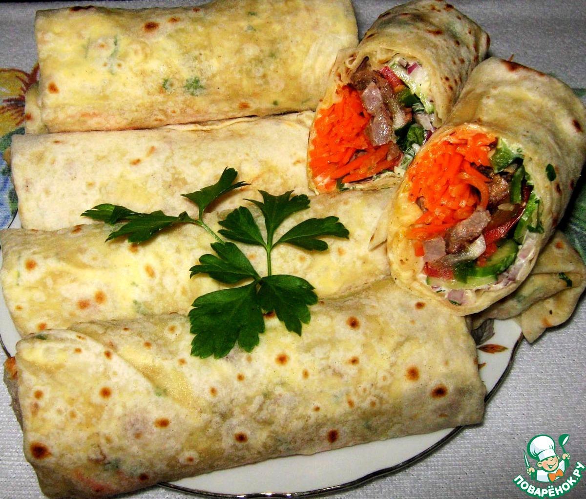 Шаурма с курицей и морковкой по-корейски в домашних условиях рецепт