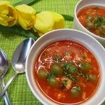 Томатный суп с консервированной горбушей