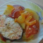 Лосось с овощами под апельсиновым маринадом