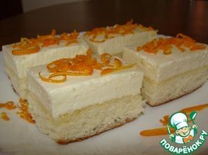 Рецепт: Бисквитное пирожное с апельсиновым суфле