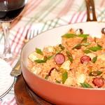 Рис с курицей и колбасками