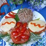 Свиной эскалоп с помидорами и сыром
