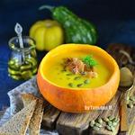Тыквенный суп-пюре с беконом в тыкве