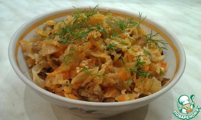 Баклажаны с капустой тушеные рецепт