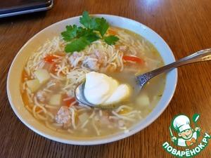 Рецепт: Суп с фрикадельками и вермишелью