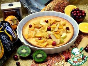 Бисквитный блин с карамелизированными фруктами