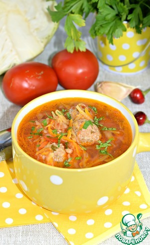 Cabbage soup with meatballs