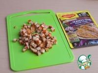 Салат слоёный с курицей и грушей Петрушка