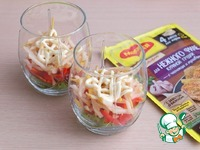 Салат слоёный с курицей и грушей Листья салата