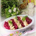 Полосатый салат с курицей