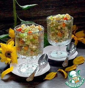 Рецепт: Тёплый куриный салат с овощами