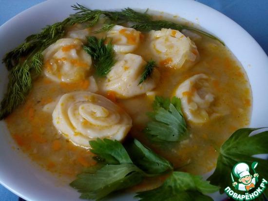 Рецепт супа с чесночными рулетиками