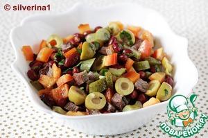Салат с фасолью мясом кинза фото рецепт
