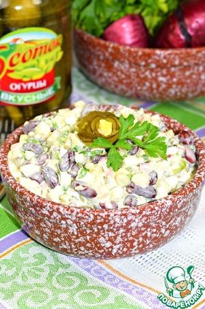 """Рецепт: Салат с фасолью и огурцом """"Пятиминутка"""""""