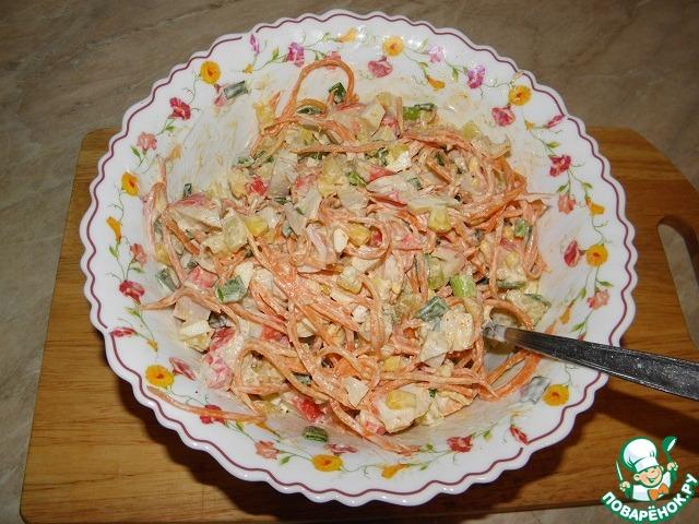 Салаты с крабовыми палочки и морковь по-корейски