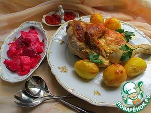Рецепт: Запечённая курица в маринаде из хрена