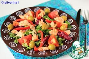Рецепт: Овощной салат с семгой