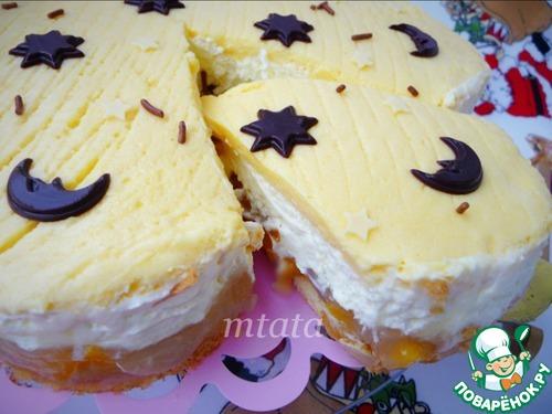 Торт персиковый с йогуртово-сливочным кремом