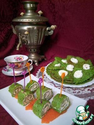 Рецепт: Зеленые блины из кабачков