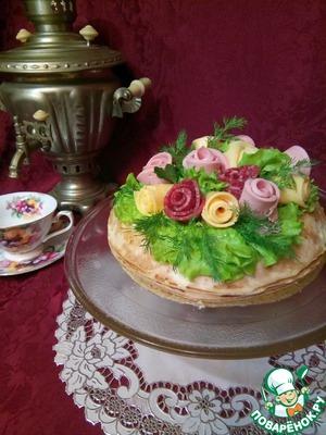 Рецепт: Блинный торт с мясом