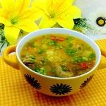 Суп с пшеном и маринованными огурцами