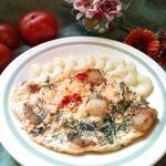 Омлет с помидорами и жареным салом
