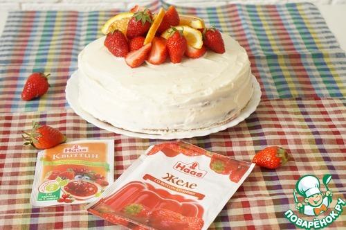 Торт с клубничным желе
