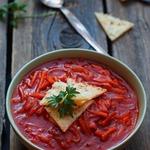 Томатный суп с запеченным рисом