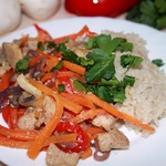 Рис с овощами и куриным филе