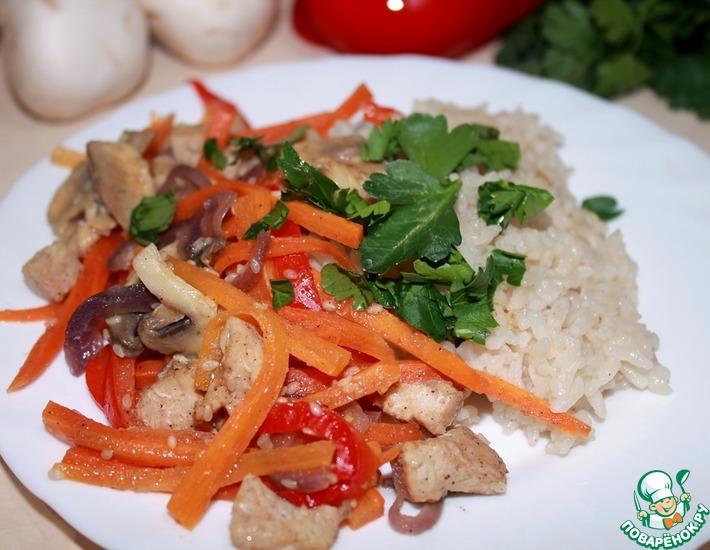 Рецепт: Рис с овощами и куриным филе