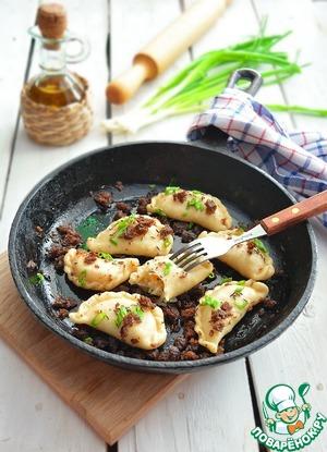 Рецепт: Постные вареники с квашеной капустой