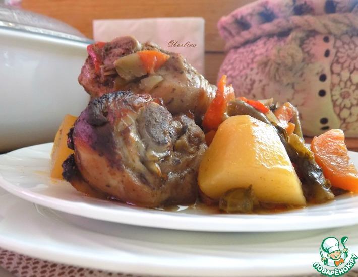 Рецепт: Куриные голени с овощами в рукаве