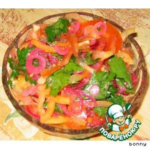 Салат овощной с маринованным луком вкусный рецепт с фото