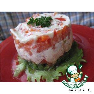 Рецепт Овощная башенка с тунцом