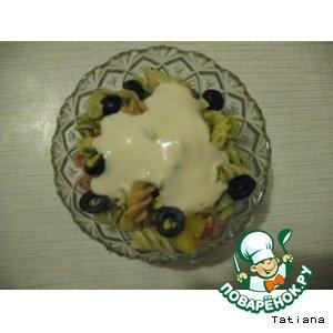 Рецепт Салат из макарон с креветками