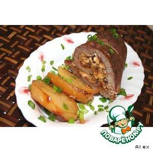Рецепт Рулет из говядины с луком, беконом и яйцами