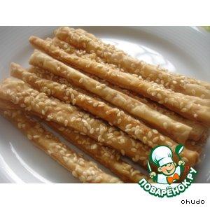 Рецепт Соленые палочки с кунжутом под пиво