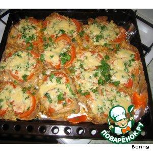 Рецепт Свинина, запеченная с помидорами и сыром