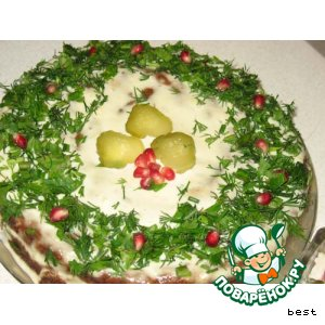 Как готовить Грибной бисквитный торт вкусный пошаговый рецепт с фото на Новый Год