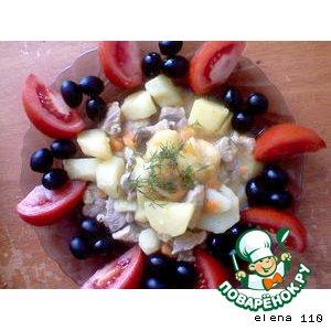 Рецепт Тушеная картошка с индейкой