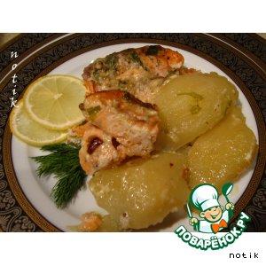 Рецепт Лосось с картофелем под сливочно-горчичным соусом