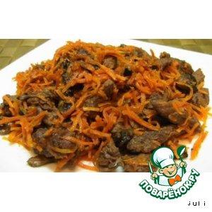 Рецепт Мясо, жаренное с грибами и морковью