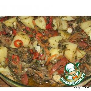 Рецепт Мясо с овощами в рукаве