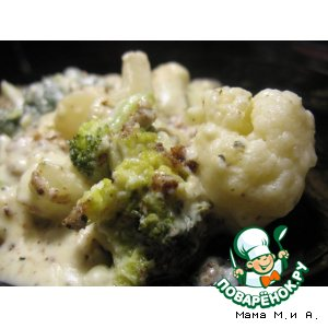 Рецепт Брокколи и цветная капуста, запеченные в сырном соусе