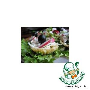 Рецепт Сырные корзинки с салатом