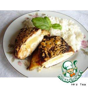 Готовим рецепт с фото Куриная грудка, фаршированная ананасом