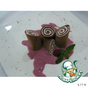 Рецепт Шоколадный блин с земляничным кремом