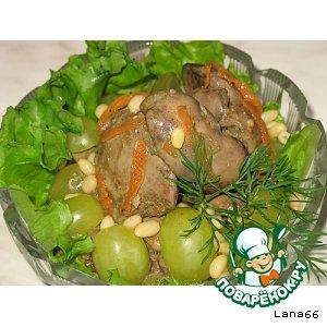 Тeплый салат с куриной печенью домашний рецепт с фотографиями пошагово как приготовить