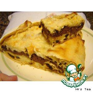 Пирог творожный  в лаваше простой рецепт с фото готовим