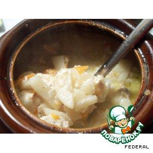 Рецепт: Картофель с мясом в горшочке